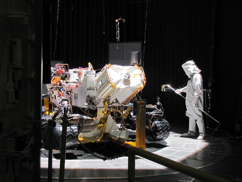 This image shows preparation for March 2011 testing of the Mars Science Laboratory rover, Curiosity, in a space-simulation chamber; the rover will go through operational sequences in environmental conditions similar to what it will experience on Mars.