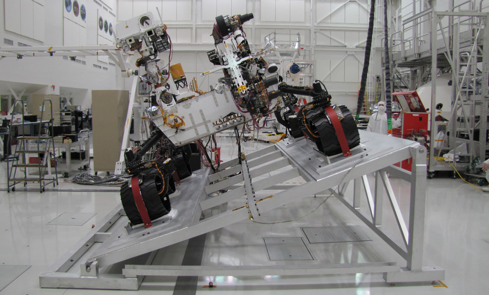 The Mast Camera (Mastcam) on NASA's Mars rover Curiosity has two rectangular 'eyes' near the top of the rover's remote sensing mast. This image shows Curiosity on a tilt table NASA's Jet Propulsion Laboratory, Pasadena, California.