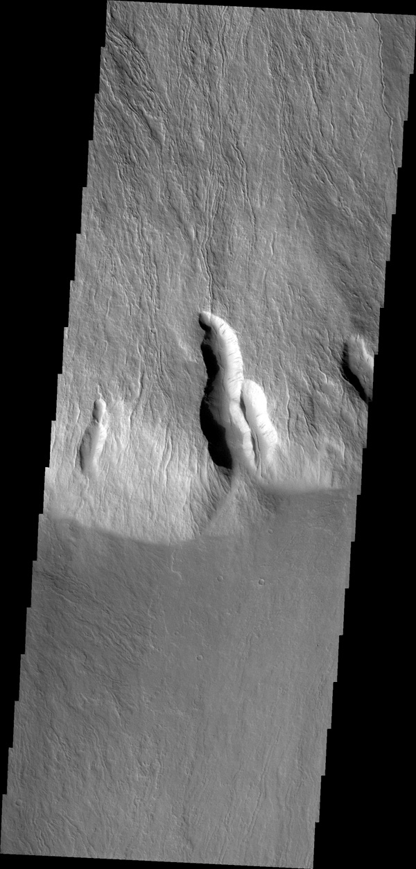 This image captured by NASA's 2001 Mars Odyssey shows lava flows in the southern escarpment region of Olympus Mons, the largest known volcano in the solar system.