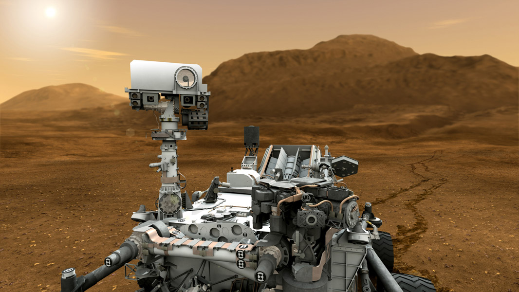 This artist concept features NASA's Mars Science Laboratory Curiosity rover. The mast, or rover's