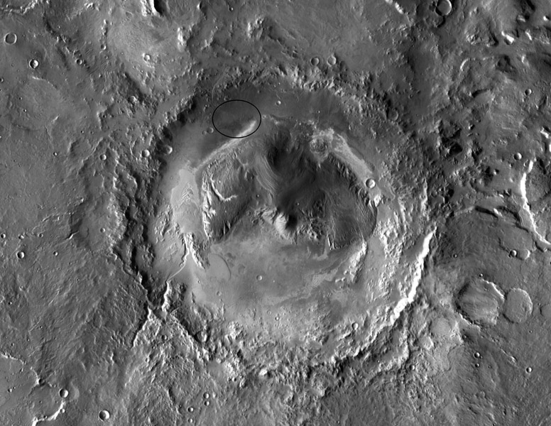 NASA has selected Gale crater as the landing site for the Mars Science Laboratory mission. This view of Gale is a mosaic of observations from NASA's Mars Odyssey orbiter.