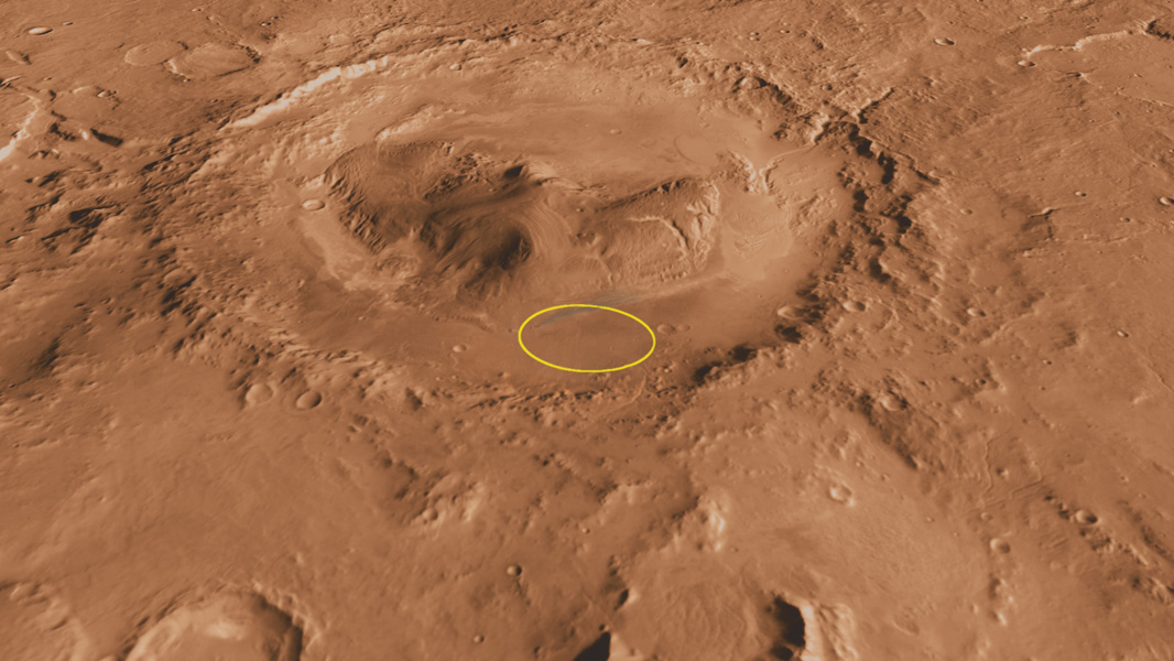 This oblique, southward-looking view of Gale crater shows the mound of layered rocks that NASA's Mars Science Laboratory will investigate. The mission's selected landing site is just north of the mound inside the crater.