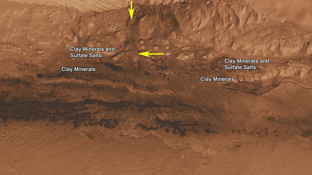 This oblique view of Gale crater shows the landing site and the mound of layered rocks that NASA's Mars Science Laboratory will investigate. The landing site is in the smooth area in front of the mound.