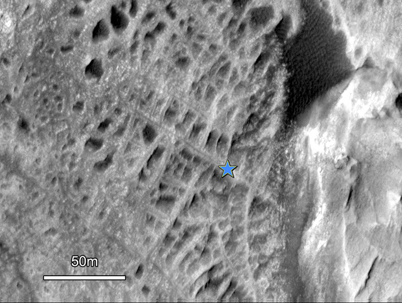 One type of feature of scientific interest on the mountain inside Gale crater is exposure of cemented fractures, evidence that groundwater once reached to at least that height of the mountain. This image is from NASA's Mars Reconnaissance Orbiter.