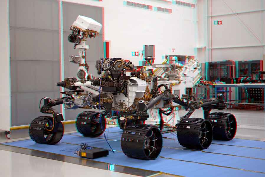 This stereo image of NASA's Mars Science Laboratory's Curiosity Rovert was taken May 26, 2011, in Spacecraft Assembly Facility at NASA's Jet Propulsion Laboratory in Pasadena, Calif. 3-D glasses are necessary to view this image.