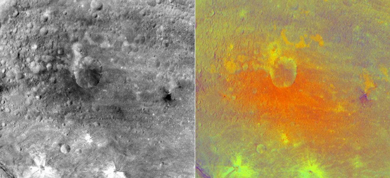 NASA's Dawn spacecraft obtained this false-color image (right) of an impact crater in asteroid Vesta's equatorial region with its framing camera on July 25, 2011. The view on the left is from the camera's clear filter.