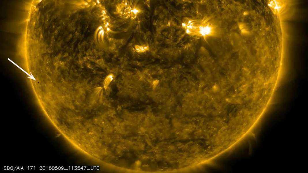 On May 9, 2016, Mercury passed directly between the Sun and Earth, making a transit of the Sun. Mercury transits happen about 13 times each century. NASA's SDO studies the Sun 24/7 and captured the eight-hour event.
