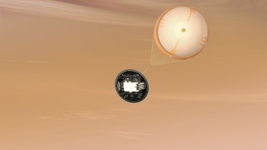 This artist's concept is of NASA's Mars Science Laboratory (MSL) Curiosity rover parachute system; the largest parachute ever built to fly on a planetary mission. The parachute is attached to the top of the backshell portion of the spacecraft's aeroshell.