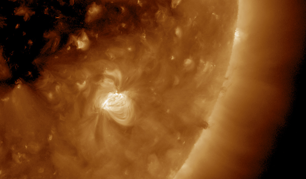 NASA's Solar Dynamics Observatory took this close-up view of one day in the life of a rather small active region shows the agitation and dynamism of its magnetic field (Dec. 21, 2016).