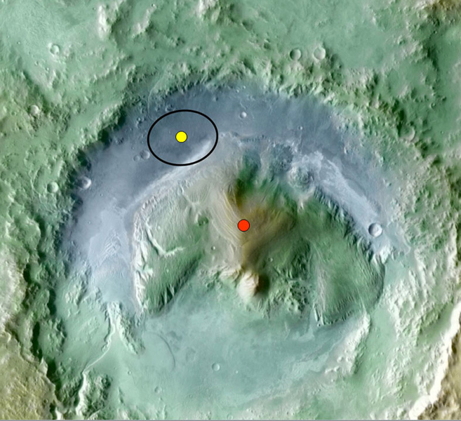 Color coding in this image of Gale Crater on Mars represents differences in elevation. The vertical difference from a low point inside the landing ellipse for NASA's Mars Science Laboratory (yellow dot) to a high point on the mountain inside the crater.