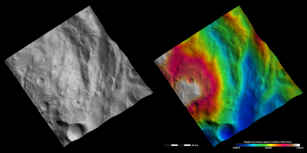 These images from NASA's Dawn spacecraft show part of Rheasilvia quadrangle in asteroid Vesta's southern hemisphere. The hummocky, undulating terrain surrounding the central complex feature consists of ridges and grooves.