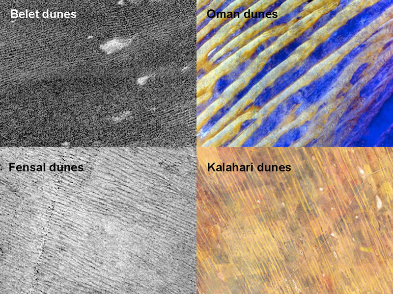 Data from NASA's Cassini spacecraft show that the sizes and patterns of dunes on Saturn's moon Titan vary as a function of altitude and latitude (left). Images of Earth dunes Oman and Kalahari are shown at right as seen by NASA's Terra spacecraft.