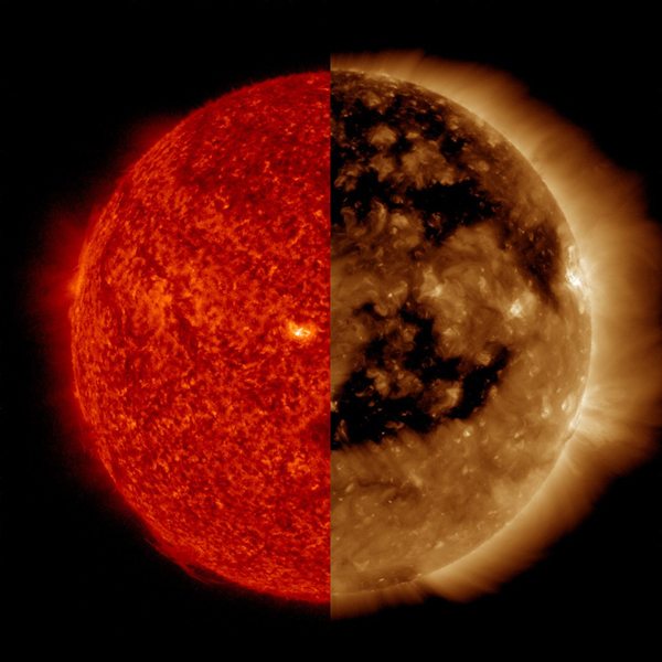 NASA's Solar Dynamics Observatory compares very large coronal holes taken Oct. 27, 2016. Coronal holes are areas of open magnetic field that carry solar wind out into space, currently causing a lot of geomagnetic activity here on Earth.