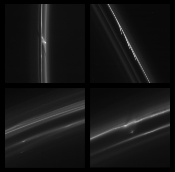 This image obtained by NASA's Cassini spacecraft shows some of the more bizarre trails that were dragged out from Saturn's F ring by objects about a half mile (1 kilometer) in diameter.