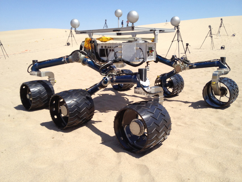 NASA's Mars Science Laboratory mission team members ran mobility tests on the test rover called 'Scarecrow' on sand dunes near Death Valley, Ca. in early May 2012 in preparation for operating the Curiosity rover, currently en route to Mars.