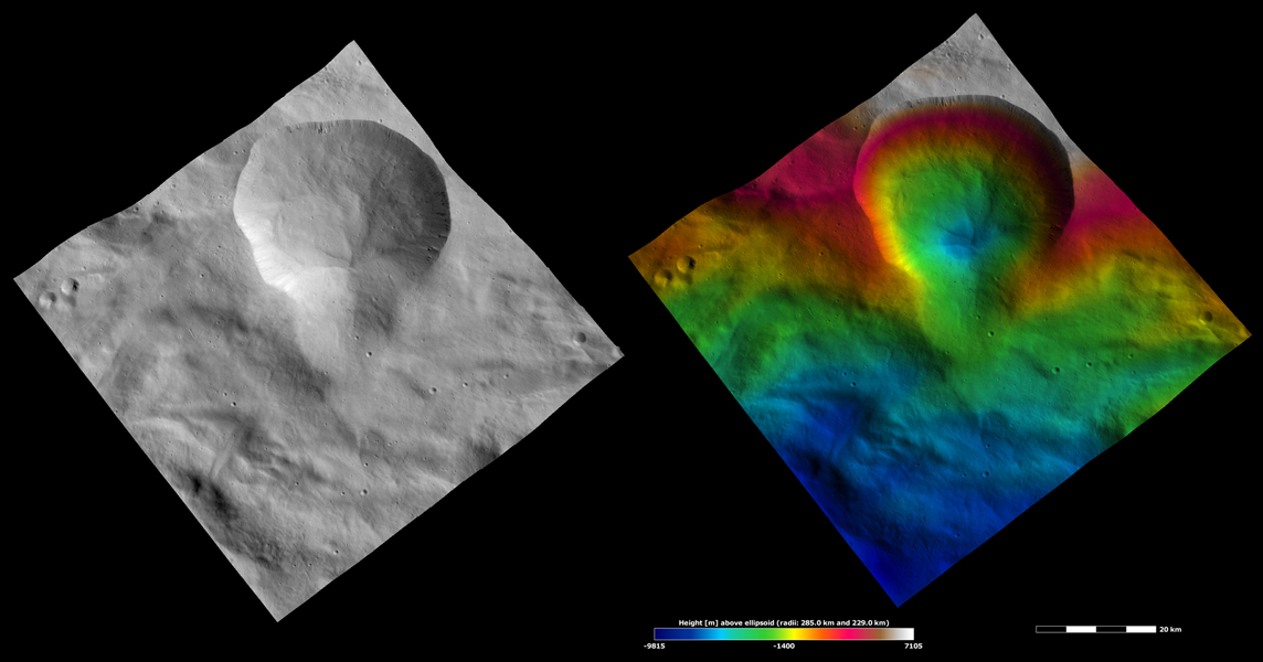 NASA's Dawn spacecraft of asteroid Vesta shows the apparent brightness of asteroid Vesta's surface. Aquilia crater, located in Vesta's Pinaria quadrangle, is the large crater that dominates the top part of both images.