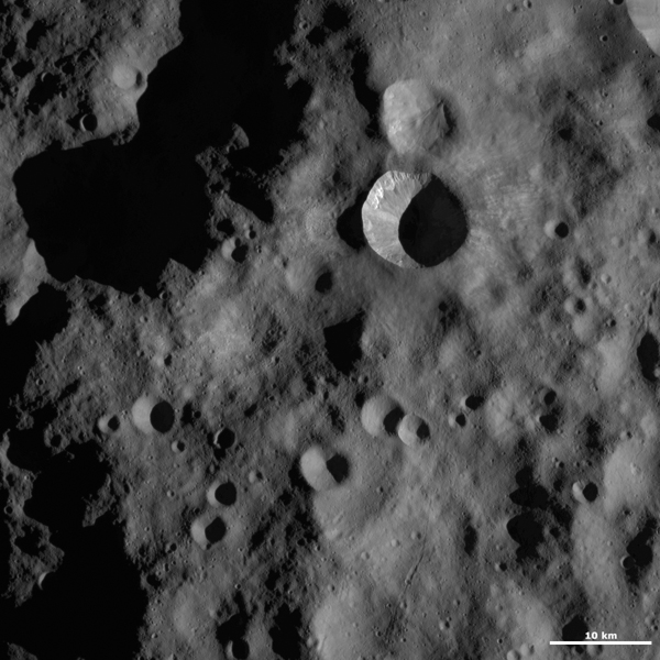 This image from NASA's Dawn spacecraft shows Arruntia crater, located in asteroid Vesta's Bellicia quadrangle, in Vesta's northern hemisphere.