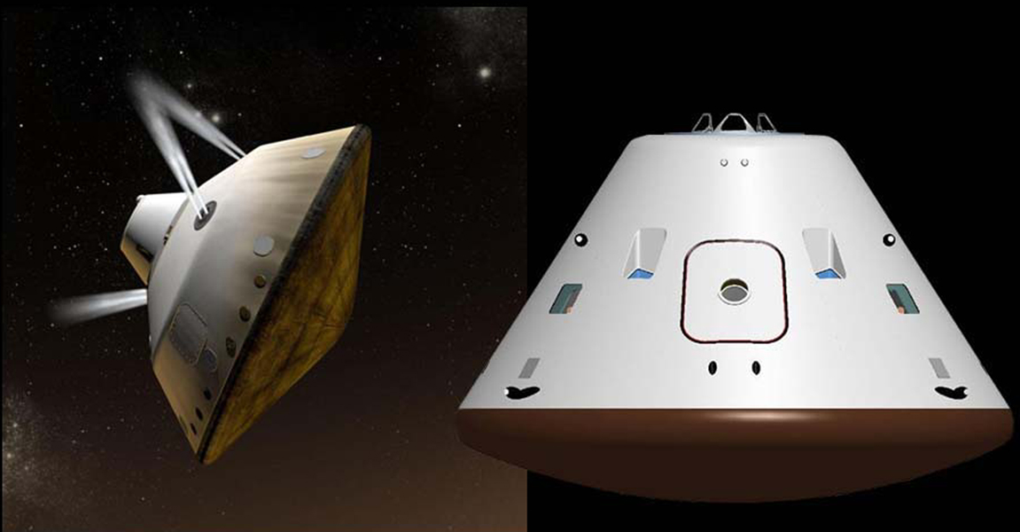 This set of artist's concepts shows NASA's Mars Science Laboratory cruise capsule and NASA's Orion spacecraft, which is being built now at NASA's Johnson Space Center and will one day send astronauts to Mars.