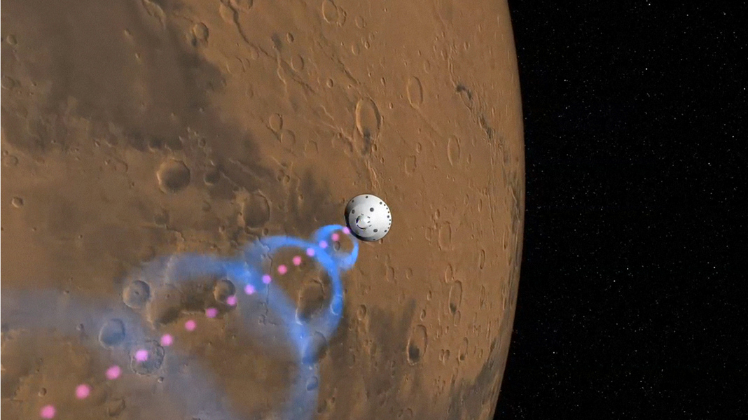 This frame from an artist's animation shows how NASA's Curiosity rover will communicate with Earth via two of NASA's Mars orbiters, Mars Reconnaissance Orbiter and Odyssey.
