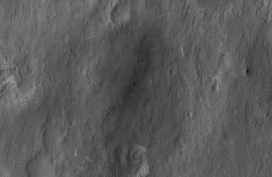 This close-up view shows NASA's Curiosity rover on the surface of Mars. The image was captured by the NASA's Mars Reconnaissance Orbiter about 24 hours after the rover made its grand appearance on Mars.