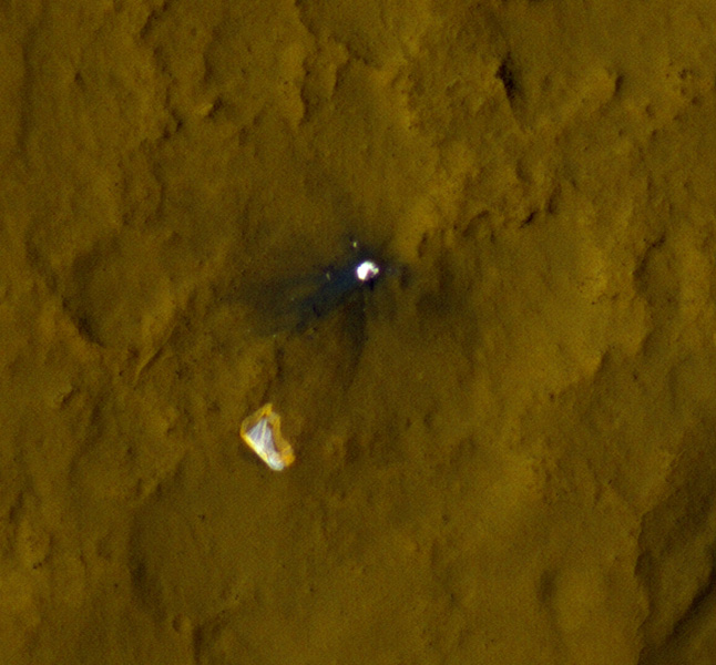 This color view of the parachute and back shell that helped deliver NASA's Curiosity rover to the surface of the Red Planet was taken by the High-HiRISE camera on NASA's Mars Reconnaissance Orbiter.
