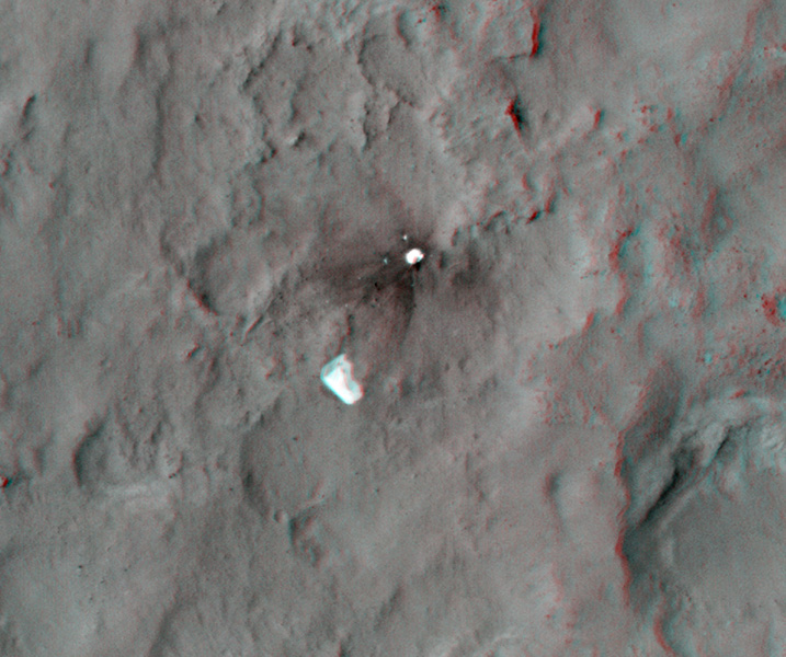 This stereo anaglyph shows the parachute and back shell that helped guide NASA's Curiosity to the surface of Mars. You need 3-D glasses to view this image.