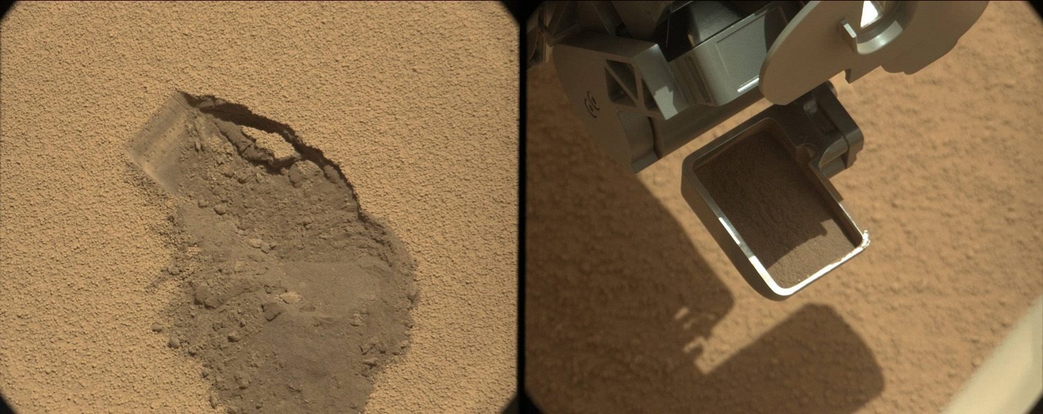 This pairing illustrates the first time that NASA's Mars rover Curiosity collected a scoop of soil on Mars. At right, the ground location 'Rocknest,' at left, after the scoop of sand and dust had been removed.