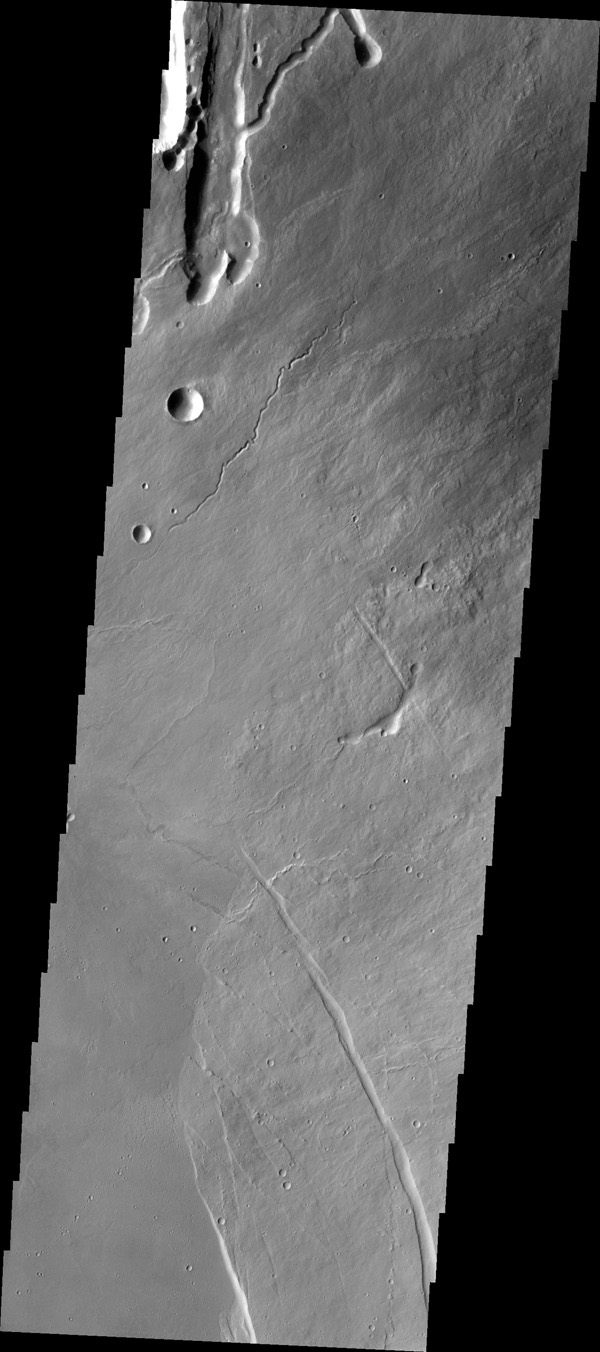 The lava channels and collapse features in this image from NASA's 2001 Mars Odyssey spacecraft are located near the summit of Arsia Mons. The fracture in the lower right part of the image marks the boundary of the summit caldera.