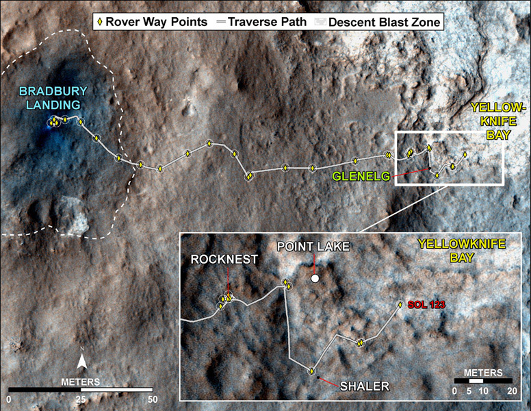 This map traces where NASA's Mars rover Curiosity drove between landing at a site subsequently named 'Bradbury Landing,' and the position reached during the mission's 123rd Martian day, or sol, (Aug. 10, 2012).