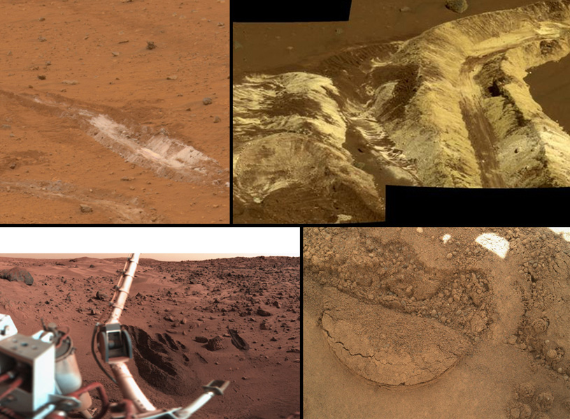 This collage shows the variety of soils found at landing sites on Mars. The elemental composition of the typical, reddish soils were investigated by NASA's Viking, Pathfinder and Mars Exploration Rover missions, and now with the Curiosity rover.