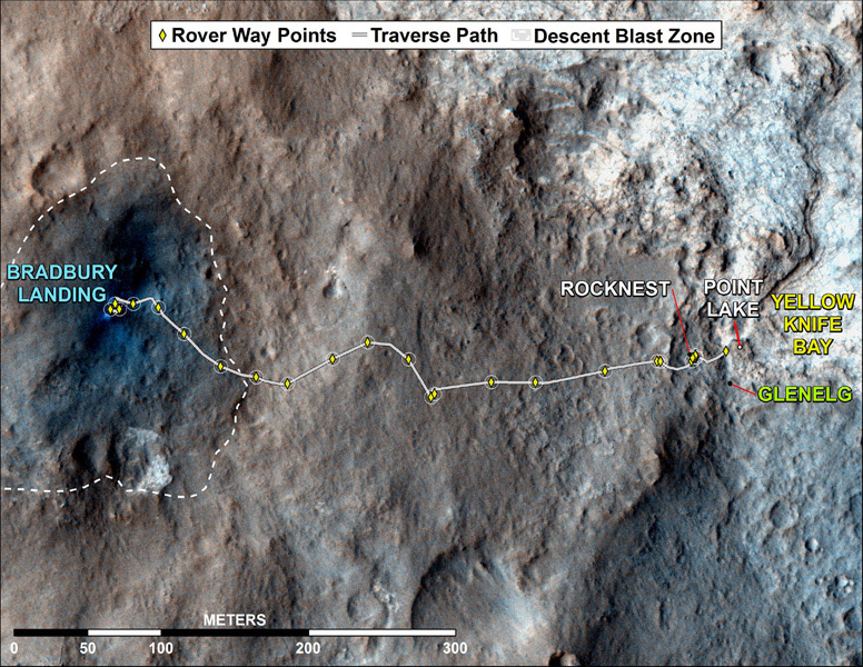 This map shows where NASA's Mars rover Curiosity has driven since landing at a site subsequently named 'Bradbury Landing,' and traveling to an overlook position near beside 'Point Lake,' in drives totaling 1,703 feet (519 meters).