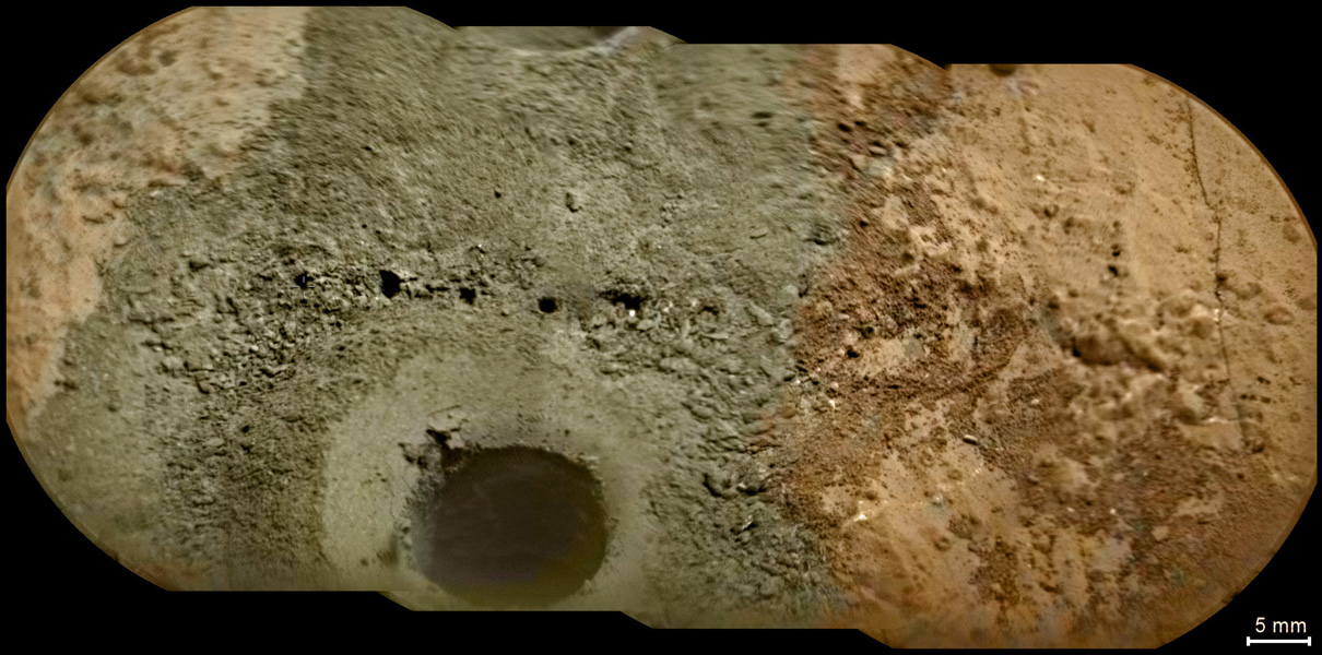 A day after NASA's Mars rover Curiosity drilled the first sample-collection hole into a rock on Mars, the rover's Chemistry and Camera (ChemCam) instrument shot laser pulses into the fresh rock powder that the drilling generated.