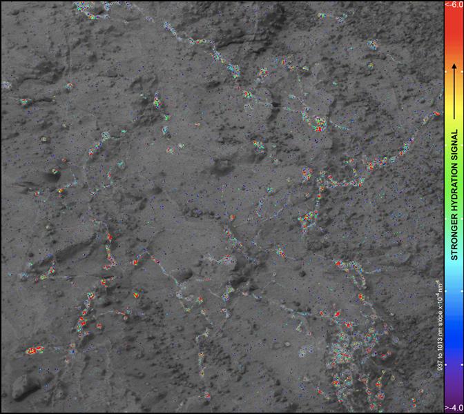 Hydrerede mineraler på Mars'overfladen i Gale krateret
