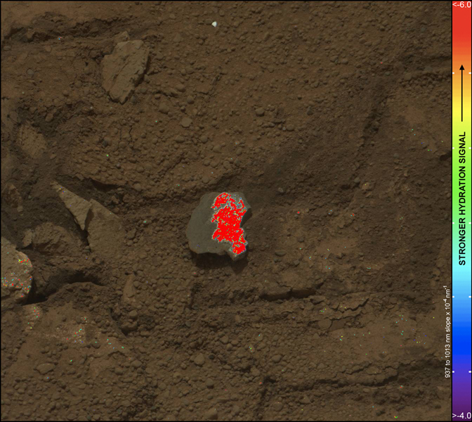 On this image of the broken rock called 'Tintina,' color coding maps the amount of mineral hydration indicated by a ratio of near-infrared reflectance intensities measured by the Mastcam on NASA's Mars rover Curiosity.