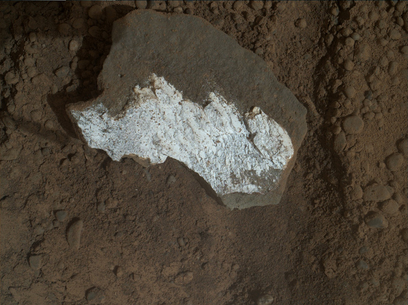 NASA's rover Curiosity took this close-up view of 'Tintina' showing interesting linear textures in the bright white material on the rock.