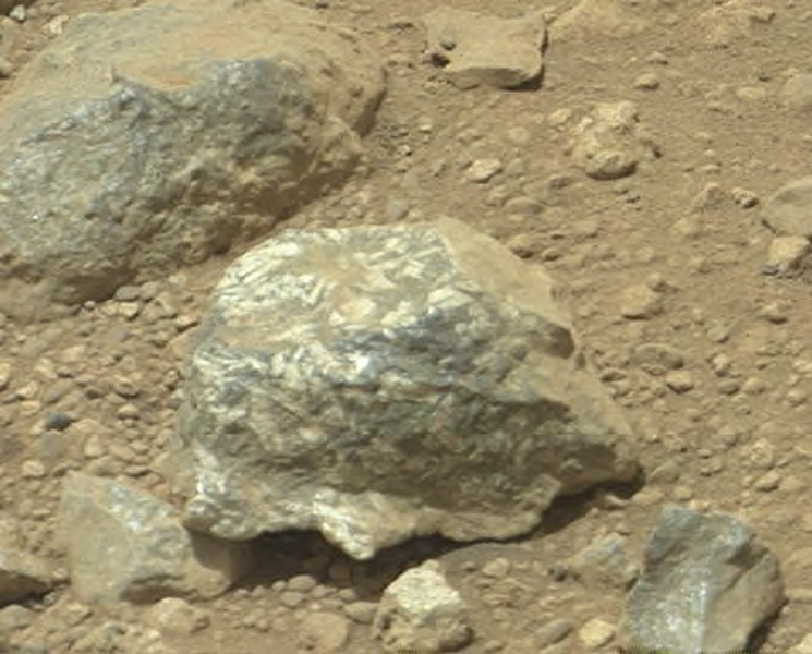 The Mast Camera (Mastcam) on NASA's Mars rover Curiosity showed researchers interesting color and patterns in this unnamed rock.