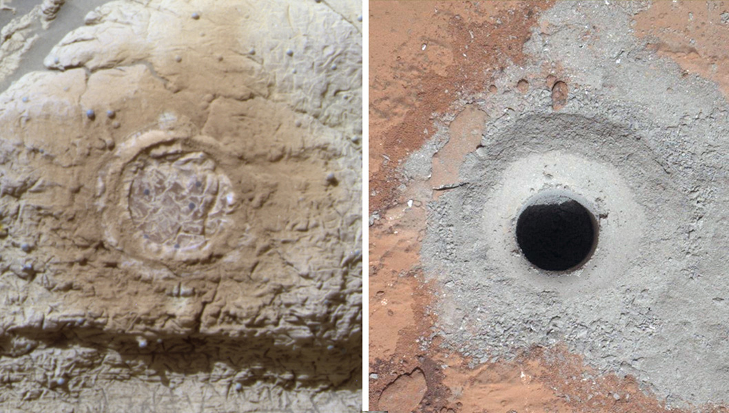 This set of images shows the results from the rock abrasion tool from NASA's Mars Exploration Rover Opportunity (left) and the drill from NASA's Curiosity rover (right).