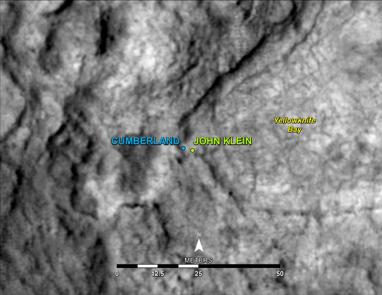 This map shows the location of 'Cumberland,' the second rock-drilling target for NASA's Mars rover Curiosity, in relation to the rover's first drilling target, 'John Klein,' within the southwestern lobe of a shallow depression called 'Yellowknife Bay.'