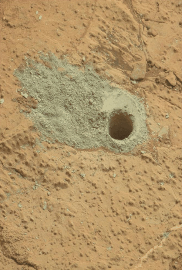 This image from the Mars Hand Lens Imager (MAHLI) on NASA's Mars rover Curiosity shows the rock target