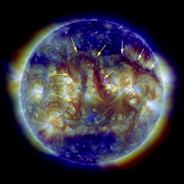 The two most noteworthy features on the sun this week were a pair of elongated filaments, as seen by NASA's Solar Dynamics Observatory on Sept. 8, 2016.