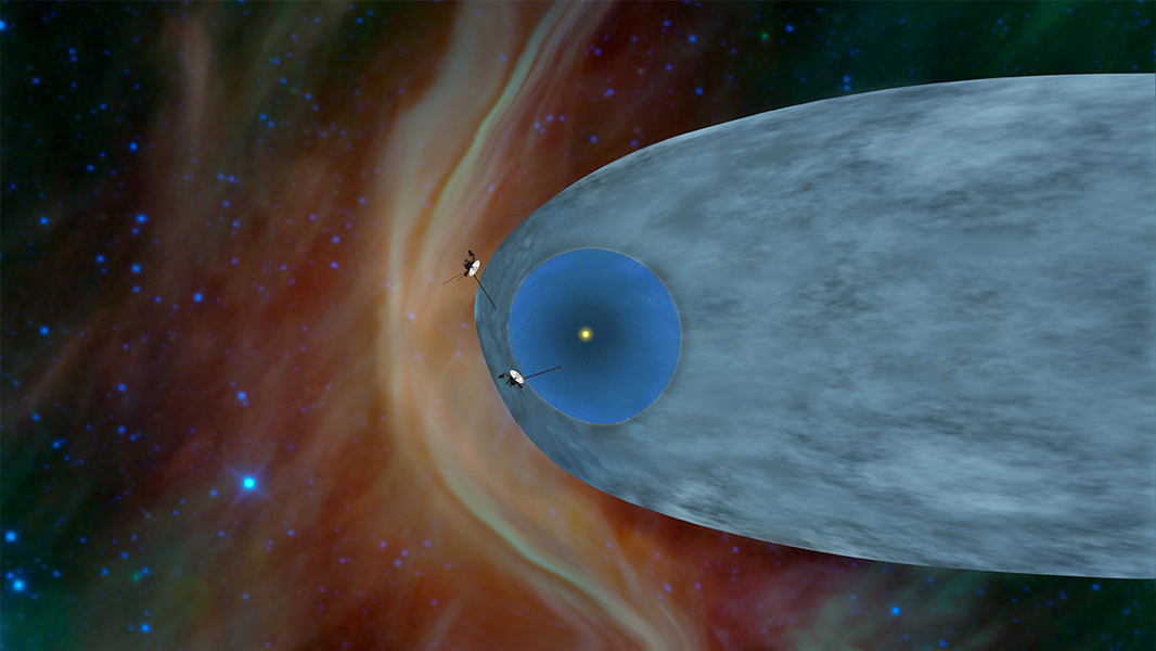 This artist's concept shows the general locations of NASA's two Voyager spacecraft. Voyager 1 (top) has sailed beyond our solar bubble into interstellar space. Voyager 2 (bottom) is still exploring the outer layer of the solar bubble.