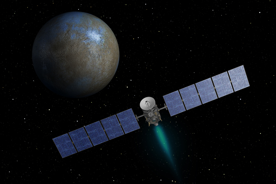 This artist's concept shows NASA's Dawn spacecraft heading toward the dwarf planet Ceres. When Dawn arrives, it will be the first spacecraft to go into orbit around two destinations in our solar system beyond Earth.