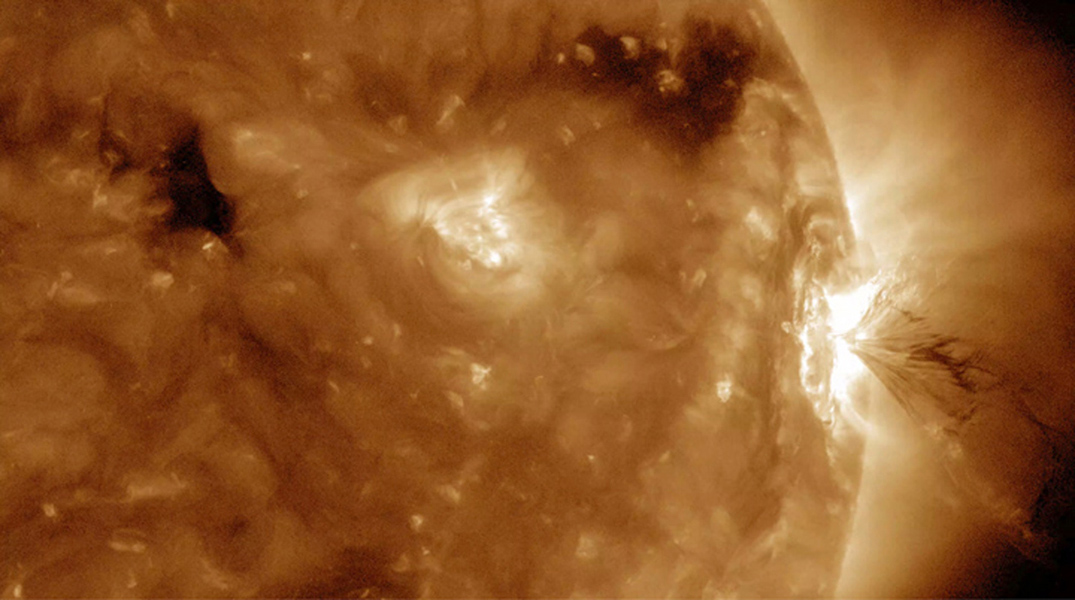 The Sun produced three M-class (medium-sized) flares in less than 13 hours and the third one had an interesting flourish at the end (July 22-23, 2016). These were the largest flares the Sun had produced this year as seen by NASA's Solar Dynamics Observato