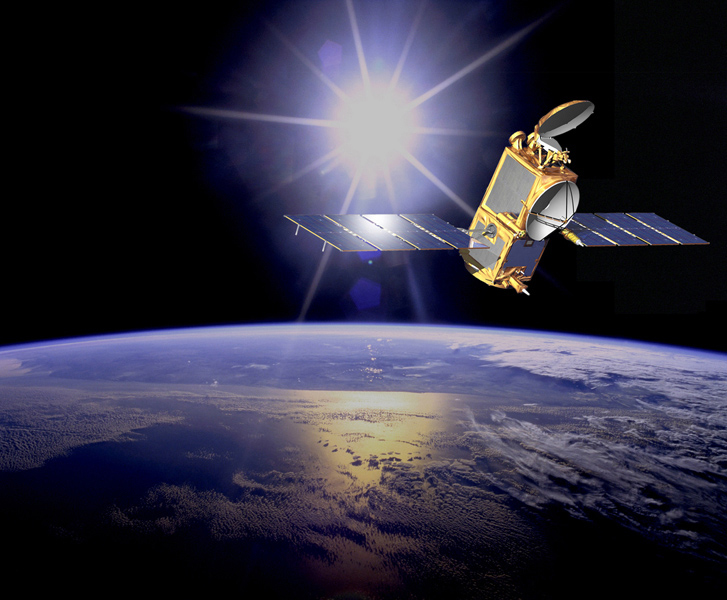 An artist's concept of the Ocean Surface Topography Mission/Jason 2 Earth satellite.