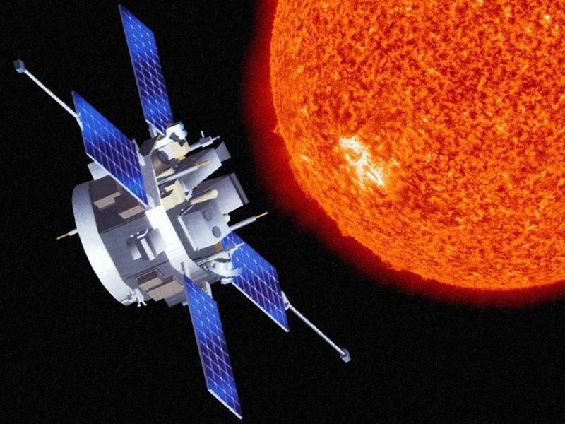 Artist's rendition of the Advanced Composition Explorer (ACE) spacecraft.