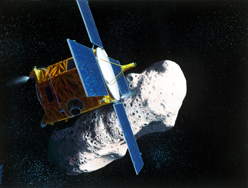 Artist's rendering of the the Near Earth Asteroid Rendezvous (NEAR) spacecraft's rendezvous with the asteroid Eros.