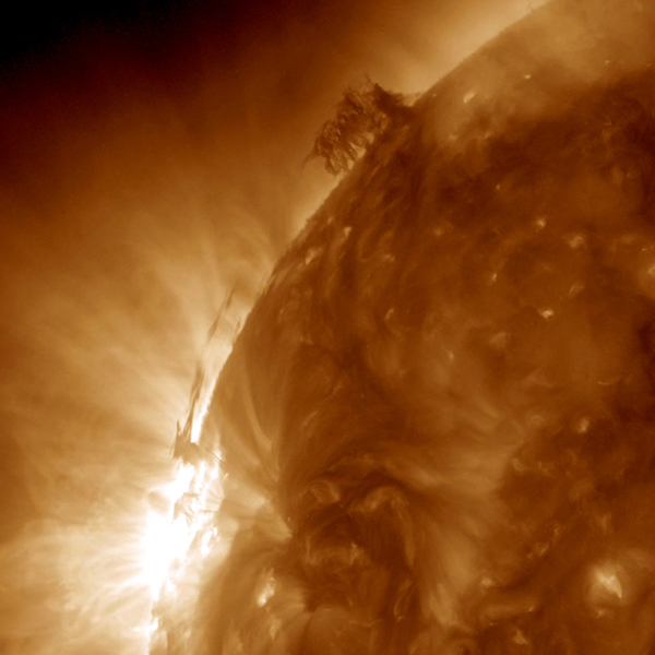 This still image from an animation from NASA GSFC's Solar Dynamics Observatory shows dark strands of plasma hovering above the Sun's surface beginning to interact with each other in a form of tug of war over two and a half days (June 28-30, 2015).