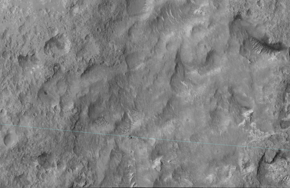 This June 27, 2014, image from the HiRISE camera on NASA's Mars Reconnaissance Orbiter shows NASA's Curiosity Mars rover on the rover's landing-ellipse boundary, which is superimposed on the image.