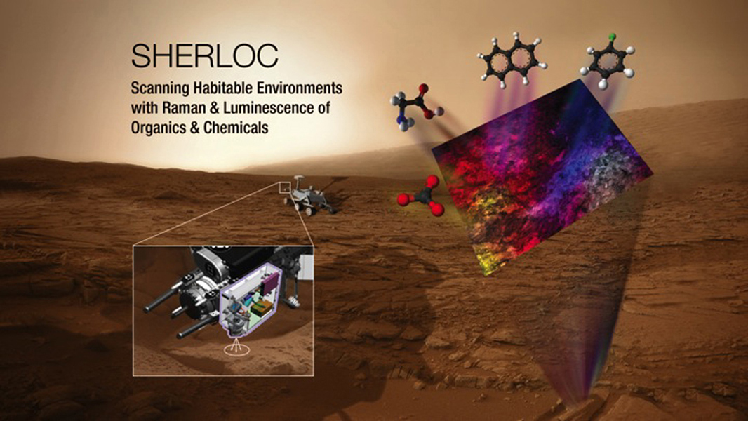 This illustration depicts the mechanism and conceptual research targets for an instrument named SHERLOC, which has been selected as one of seven investigations for the payload of NASA's Mars 2020 rover mission.