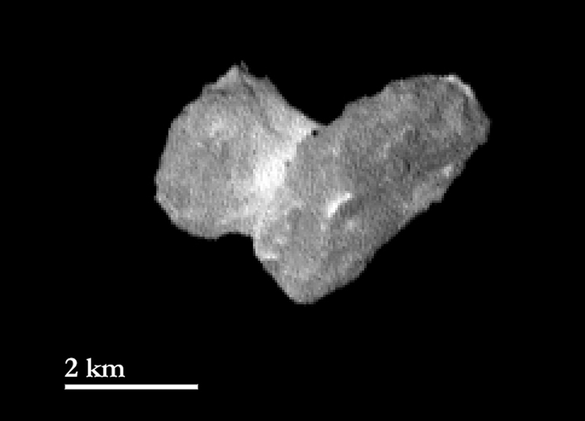 This view from the OSIRIS instrument onboard ESA's Rosetta spacecraft shows the nucleus of comet 67P/Churyumov-Gerasimernko from a distance of 1,210 miles (1950 kilometers).